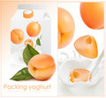 Background for design of packing yogurt with photo Royalty Free Stock Photos