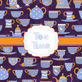 Background with different teacups and teapots Royalty Free Stock Photo