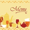 Background with dishware for menu cover design Stock Image