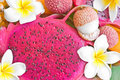 Background with dragonfruit Stock Photo