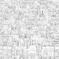 Background from the drawn black outline of buildings drawing old town Stock Photo