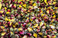 Background of dried petals of rose. Dry clover flower tea. Royalty Free Stock Photo