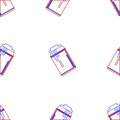Background for drink can seamless abstract pattern with contour in a tin with foam in red and blue colors on white Royalty Free Stock Photography