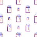 Background for drink can seamless abstract pattern with contour in a tin with foam in red and blue colors on white Royalty Free Stock Photos