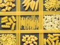 Background of dry Italian pasta spaghetti, Fusilli and macaroni