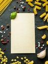 Background of dry Italian pasta spaghetti, Fusilli and macaroni. Copy space