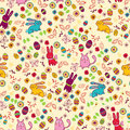 Background with easter bunnies and eggs bright pattern rabbits Royalty Free Stock Photography