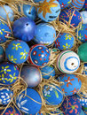 Background with easter eggs decorated by childrens children Royalty Free Stock Image