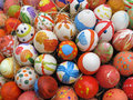 Background with easter eggs decorated by childrens easret Stock Photos