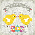 Background with easter eggs and two chick vector illustration Royalty Free Stock Photos