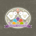 Background with easter eggs and two chick vector illustration Stock Photo