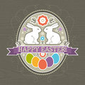 Background with easter eggs and two rabbit vector Royalty Free Stock Images
