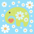 Background with elephant and flowers vector Stock Photos