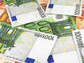 Background from a euro banknotes one hundred Stock Images