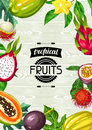 Background with exotic tropical fruits. Illustration of asian plants