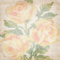 Background fabric with the embroidered roses Royalty Free Stock Photography