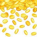 Background with falling golden coins. Vector illustration. Royalty Free Stock Photo