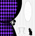 Background fantasy black cat abstract white room with a silhouette of and purple drape Royalty Free Stock Photos