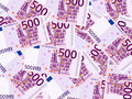 Background five hundred euro banknotes Stock Images