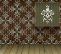 Background with floral decoration and wooden floor Stock Image