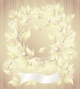 Background with flowers pearls petals and ribbon Stock Images