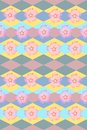 Background with flowers and rhombuses. Seamless floral and geometric pattern