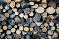 Background formed by a woodpile. Royalty Free Stock Photo