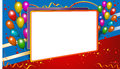 Background frame with balloons multicolor star ribbon white board festival board in blue red Stock Images