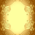 Background frame with gold pattern of roses Stock Photos