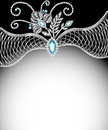 Background frame with jewels of silver ornaments illustration Royalty Free Stock Photo