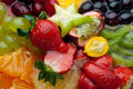 Background of fresh fruits and berries (macro) Royalty Free Stock Photos
