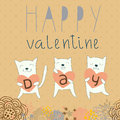 Background with funny cats cartoon romantic Stock Photo