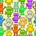 Background with funny robots seamless pattern Royalty Free Stock Photo