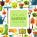 Background with garden design elements and icons Royalty Free Stock Photo