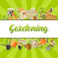 Background with garden tools and items. Season gardening illustration Royalty Free Stock Photo