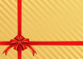 Background gift golden with a red bow for gifts Royalty Free Stock Image