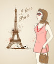Background with girl and eiffel tower in paris Stock Photos