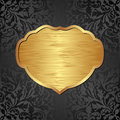 Background gold and black with ornaments and frame Stock Images