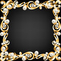 Background gold jewelry frame pearls Royalty Free Stock Image