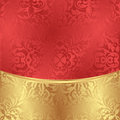 Background gold red with abstract floral ornaments Stock Image