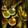 Background with golden baubles Stock Photography