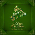 Background with golden deer shiny christmas on green floral elements in corners illustration Royalty Free Stock Photography