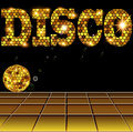 Background with golden disco ball and letters Royalty Free Stock Photo