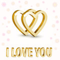 Background with golden hearts vector Royalty Free Stock Photography