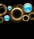 Background with golden rings black gold and turquoise glass circles Royalty Free Stock Image