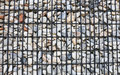 Background, Granite retaining wall reinforced with steel grid Royalty Free Stock Photo