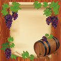 Background with grape,wooden barrel and paper Stock Image