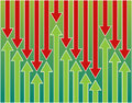Background green red arrows ups downs Stock Image