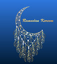 background greeting card with a moon on the feast of Ramadan Kareem