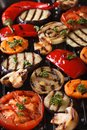 Background of grilled vegetables on the grill vertical top view Royalty Free Stock Photo